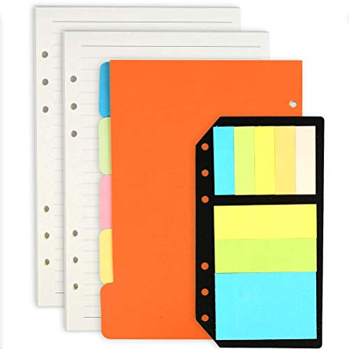 LATERN Refillable A5 Notebook Set, 2 Pack A5 Refills Planner Inserts Lined Paper + 5 Color A5 Subject Dividers + 240 Pcs Note Flags Index Tabs
