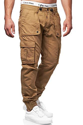 Indicode Herren Leonard Cargohose aus Baumwoll-Mix mit 6 Taschen | Lange Regular Fit Cargo Hose Herrenhose Wanderhose Trekkinghose Outdoorhose robuste Freizeithose für Männer Amber L