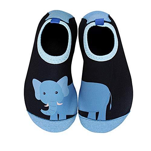 IceUnicorn Badeschuhe Kinder Schwimmschuhe Jungen Mädchen Strandschuhe Baby Aquaschuhe Barfußschuhe Kleinkind Wasserschuhe(Großer Elefant, 26/27 EU)