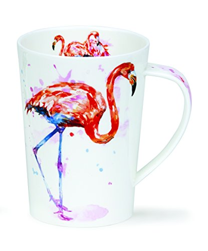 DUNOON Classic Flamingo Argyll Form Becher (500ml) Argyll Shape Fine Bone China, Made in England