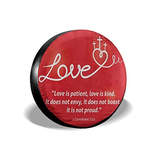 N\ A Spare Wheel Tire Cover Inspirational Quote About Love Cross Red Universal Waterproof Camper Tire Covers Protectors for RV, Trailer, SUV, Truck, Boat, Motorhome, Vehicle, Auto Accessories XL 16'