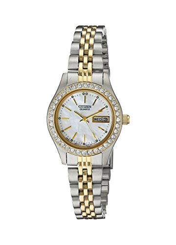 Citizen Quartz Womens Watch, Stainless Steel, Crystal, Two-Tone (Model: EQ0534-50D)