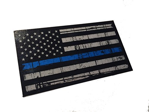 Tattered 3M Reflective Thin Blue Line 3.5 X 2 Decal Sticker United States Us Flag Tactical Police Law Enforcement
