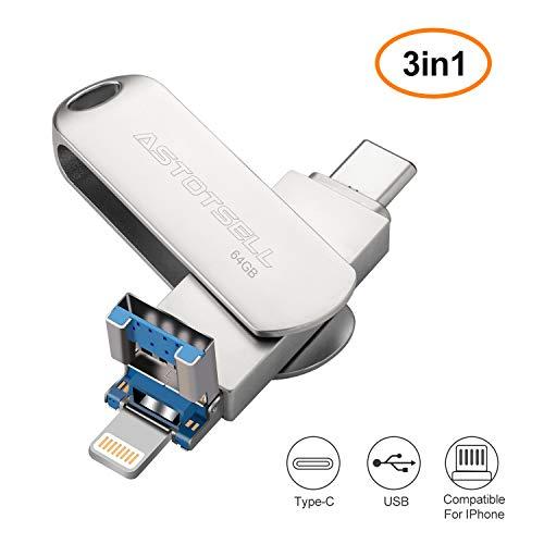 ASTOTSELL 64 Go 3 en 1 Clé USB Flash...