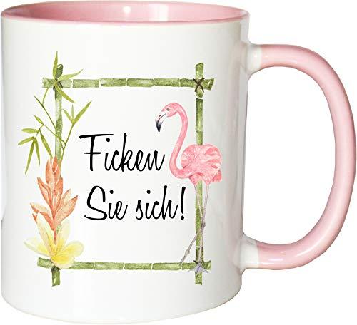 Mister Merchandise Becher Tasse Ficken Sie Sich! Kaffee Kaffeetasse liebevoll Bedruckt Misanthrop Geschenk Weiß-Rosa