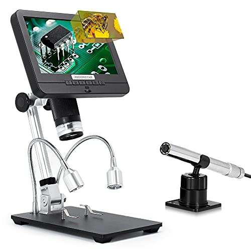 Andonstar Microscopio digitale portatile con doppio obiettivo USB AD206S Schermo LCD Videoscopio microscopico Portata con endoscopio per saldatura SMT, SMD, BGA, Lente d ingrandimento per monete