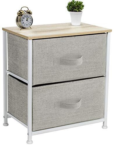 Sorbus Nightstand with 2 Drawers - Bedside Furniture & Night Stand End Table Dresser for Home, Bedroom Accessories, Office, College Dorm, Steel Frame, Wood Top, Easy Pull Fabric Bins (Beige)