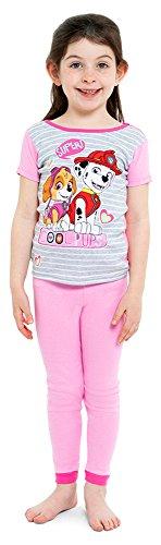 Nickelodeon Girls' Little Paw Patrol 4-Piece Cotton Pajama Set, Cutie-pup Pink, 4