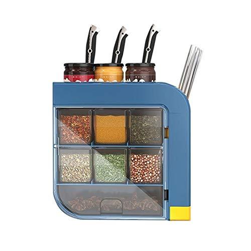 Estante de Condimentos Cocina montada en la Pared Caja de Especias Multifuncional Cocina Cocina Almacenamiento Rack Rack Chopstick Conveniente para Organizar (Color : White, Size : 26x25.5x12cm)