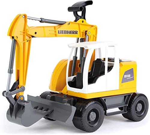 Lena 4611 Worxx Liebherr A918 Compact Litronic ca. 48 cm Konstruktionsspielzeug Fahrzeug für Kinder ab 3 Jahren robuster funktioneller Baggerarm und Druckschild