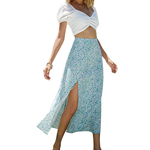 Olisenci Falda larga para mujer, estilo bohemio, informal, estampado de flores, línea A, verano, hippie estilo Net, falda bajo la rodilla, azul, S