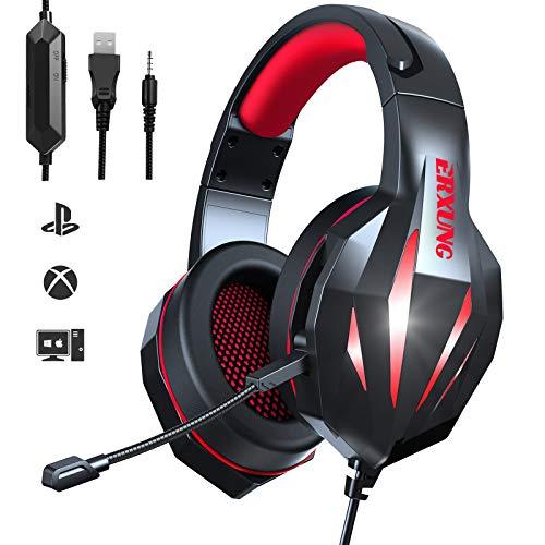 Auriculares Gaming PS4 - Auriculares Gaming PC 7.1 Surround Sound Micrófono Reducción de Ruido LED con Conector 3.5 mm Compatible con PS3 / PS4 / PS5 / Xbox One/PC/Mac/Swift (Rojo)
