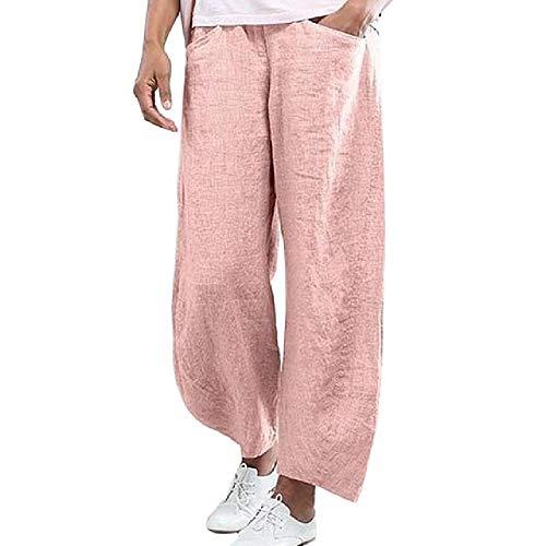 N\P Las mujeres de lino más el tamaño de los pantalones sueltos de la pierna ancha Vinatge Casual tobillo longitud pantalones señoras elástico