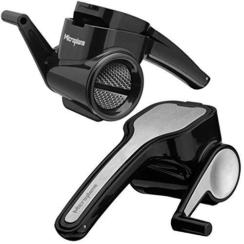 Microplane Rallador Rotativo, Plástico y Acero Inoxidable, Negro, 17.78x12.70x8.26 cm