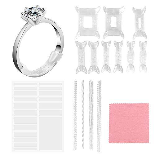 Hysagtek - Riduttore per anelli (silicone + spirale + invisibile) con 1 panno lucidante argento per anelli sciolti per donne e uomini, kit da 33 pezzi