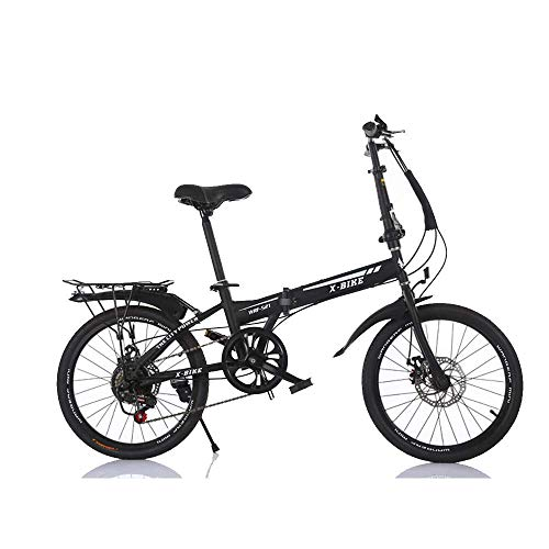 WXQ-XQ Outdoor sports Variable speed folding bicycle, 20 inch 6 speed variable adult bicycle double disc brake soft tail carbon steel cross country outdoor riding trip Outdoor sports Mountain Bike