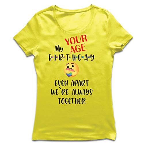 lepni.me Frauen T-Shirt Individuelle Happy Birthday-Quarantäne Auch Getrennt Wir Sind Zusammen (Large Gelb Mehrfarben)