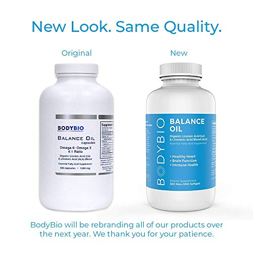 BodyBio Balance Oil - Essential Fatty Acids Omega 3 & 6 - Cold Pressed, Vegan, Organic Safflower and Flax Seed Oil Blend for Brain & Mood Support and Cellular Health, 300 Softgels