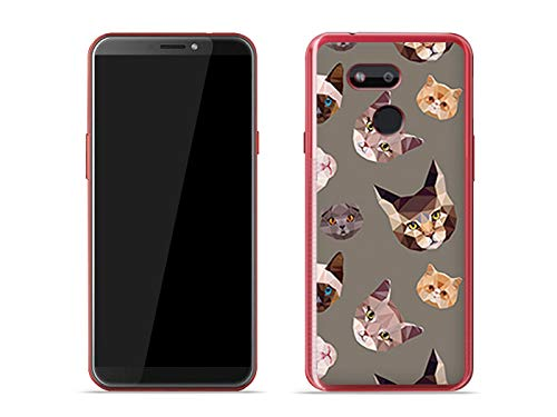 etuo Handyhülle für HTC Desire 12s - Hülle Fantastic Hülle - Geometrische Katzen - Hülle Schutzhülle Etui Hülle Cover Tasche für Handy
