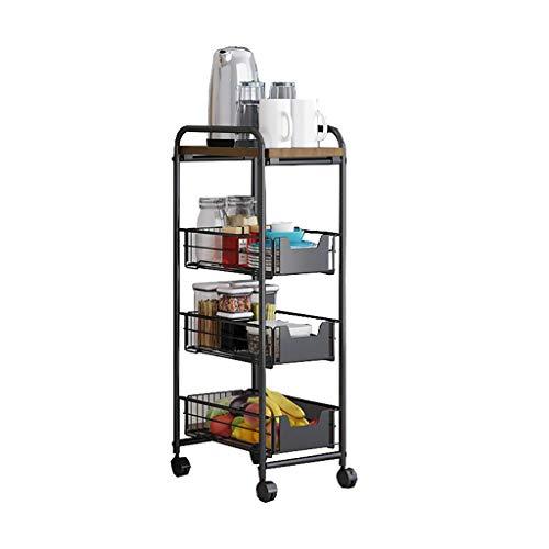 XUSHEN-HU Carrito de servicio de cocina tipo piso 4 capas para el hogar verduras y frutas estante multifuncional móvil (negro, 85,5 x 36 x 23,5 cm) cocina