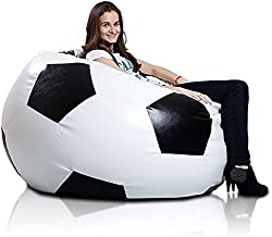 Comfy Pvc Leather Large Football Bean Bag Black And White