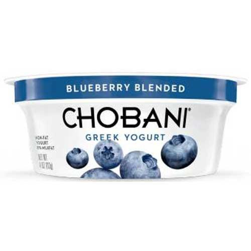 Chobani Blueberry Greek Yogurt, 4 Ounce -- 12 per case.