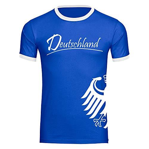 T-Shirt Deutschland Trikot Adler seitlich Herren schwarz/weiß Gr. S - 3XL - Fanshirt Fanartikel Fanshop Trikot Fußball EM WM Germany,Größe:S,Farbe:blau