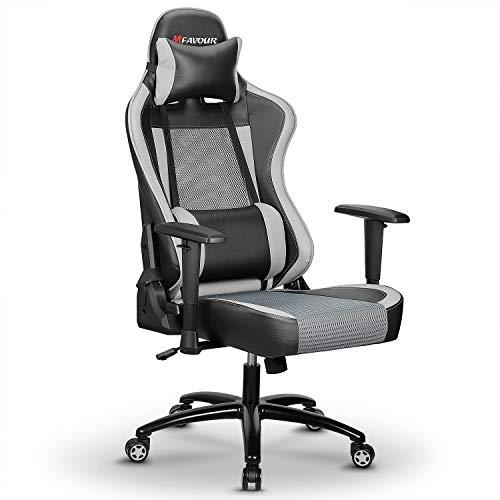 mfavour Gaming Stuhl Bürostuhl Schreibtischstuhl Ergonomischer Mesh Racing Stühle Computerstuhl mit Einstellbarer Höhe, Kopfstütze und Lordosenstütze (Grau)
