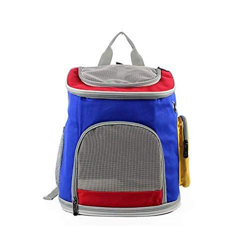 MGWA Cama para perro, mochila transpirable para mascotas, cómoda, ultraligera, portátil, de lona, costuras de tres colores, transporte para perros, azul (talla S: S)
