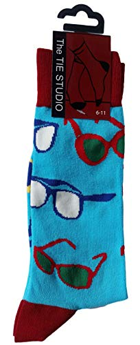 Spectacles on Pale Blue Unisex Novelty Ankle Socks Adult Size 6-11