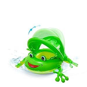SENYANG 子供用浮き輪 足入れ浮き輪 蛙のフロート 足抜き浮き輪 赤ちゃん ハンドル付 屋根付き 日焼け予防 水泳補助具 1~3歳 (绿)