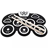 Tragbar E-Drum Set 9 Pads Roll-Up Schlagzeug Übungskit Verdicktes Drum Pad mit MIDI Headphone Jack...