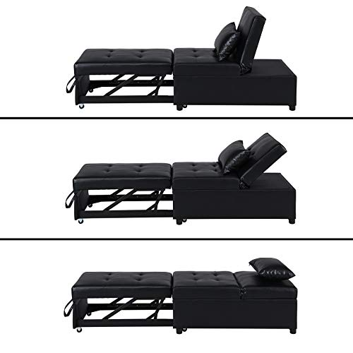 Folding Ottoman Sleeper Bed, Contemporary Faux Leather Adjustable Sleeper Guest Bed, 4 in 1 Sleeper Convertible Chair Multi-Function Folding Ottoman Sofa Bed, Padded Lounge Couch