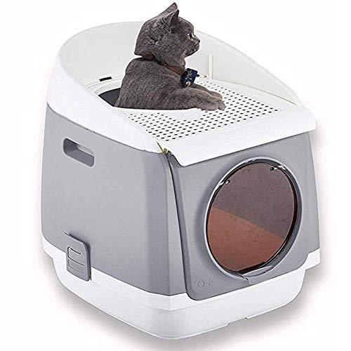OMEM Kattenbak meubels, Kat Ruimte Capsule, opvouwbaar, gesloten kat toilet, automatische geur verwijdering Kat Thuis nachtkastje, roze, blauw grijs, Large, Grijs