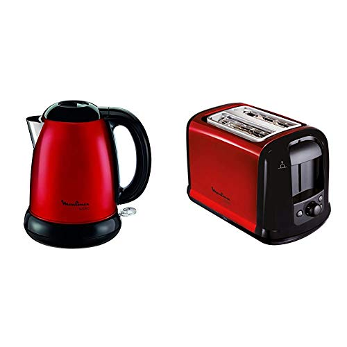 Moulinex Subito BY540510 Red Kettle / Edelstahl & LT261D Toaster Subito, rot metallic,Rot, Schwarz