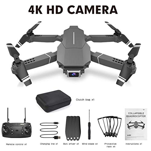 FastDirect Drohne Quadcopter mit 4K FHD Kamera, E98 Fernbedienung, Quadcopter, HD faltbare Drohne, digitaler Bilderrahmen, Displayschutzfolien, Schwarz , 4K
