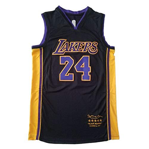 WANLN NBA Lakers 24# Kobe Bryant Jersey Camiseta De Baloncesto para Hombre Edición Retirada Tela Bordada Swingman Jersey Chaleco Transpirable,Negro,L