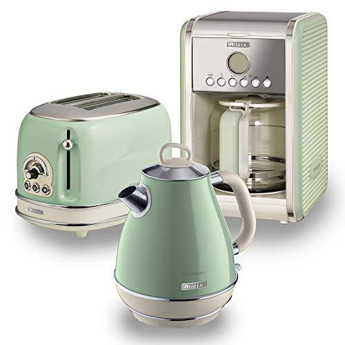 Ariete ARPK8 Retro Style Jug Kettle, 2 Slice Toaster and Filter Coffee Machine Set, Vintage Design, Green