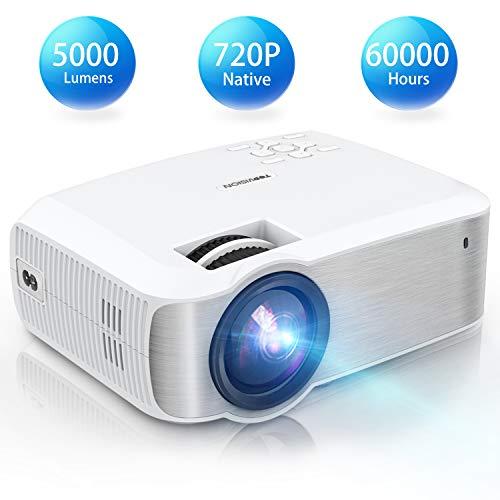 TOPVISION Mini Beamer, Native 720P Heimkino Beamer Unterstützt 1080P Full HD, 5000 Lumen Video Beamer mit 240'' Display, 60000 Stunden LED Projektor Kompatibel mit HDMI/USB/SD/AV/VGA