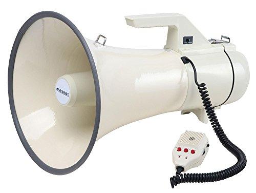 McGrey MP-2000HRS Megaphon (Sprachrohr, 45 Watt RMS/100 Watt MAX, bis zu 2400m Reichweite, Handmikrofon, Sirene, Aufnahmefunktion, batteriebetrieben) weiß