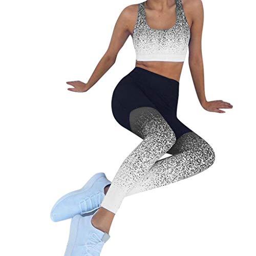 Pantalon de sport Pantalon de yoga Femmes, Toamen Pantalon de course taille haute d'entraînement Legging élastique de remise en forme Yoga serré Pantalon Dégradé de couleur (XL, Gris)