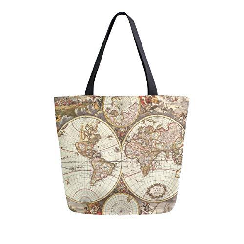 Hunihuni Canvas-Tragetasche, Kunstdruck, Weltkarte, groß, wiederverwendbar, Einkaufstasche, Schultertasche für Damen und Mädchen