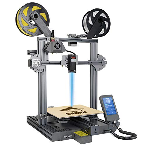 LOTMAXX Shark 3D Printer, 2021 Upgrade FDM 3D Printer with Dual Extruder, Laser Engraving & Dual-Color Printing 2 in 1, 95% Pre-assembled Metal 3D Printer Machine, Print Size 235x235x265mm, Space Gray