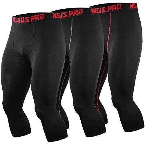 Neleus Men's 3 Pack Running Capri Leggings Athletic Compression Short,6057,Black,red and Grey Stripe,L,EU XL
