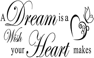 DNVEN 39 inches x 14 inches A Dream is a Wish Your Heart Makes Home Vinyl Wall Decals Quotes Sayings Words Arts Decors Lettering Vinyl Wall Stickers