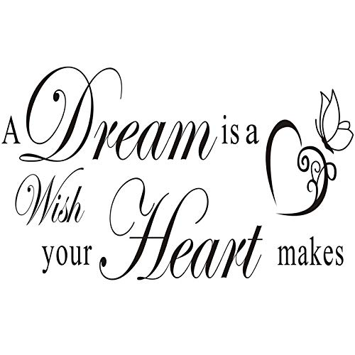 DNVEN 39 inches x 14 inches A Dream is a Wish Your Heart Makes Home Vinyl Wall Decals Quotes Sayings Words Arts Decors…