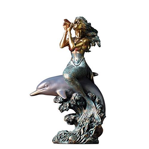 Objets de décoration Sirène de Dauphin Sculpture familiale Art de la Maison modèle Décoration de la Table Basse du Porche de la Chambre à Coucher Sculpture de Collection