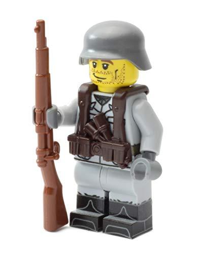 Deutscher Soldat   Ausgerüstet mit BrickArms Weste, Kar98 und Helm   Bedruckte Custom Figur