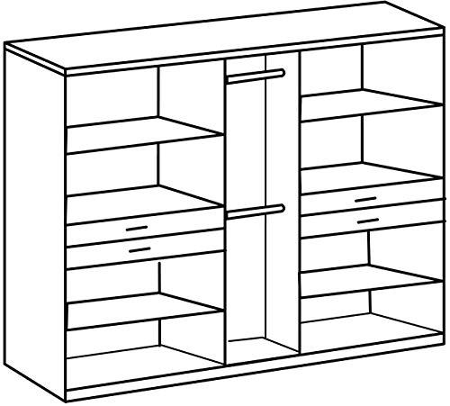 Wimex Kleiderschrank/ Drehtürenschrank Taiga, (B/H/T) 225 x 210 x 58 cm, Weiß/ Absetzung Plankeneiche