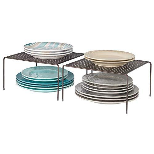 mDesign 2er-Set Geschirrablage für die Küche – freistehendes Tellerregal aus Metall – kleines Küchenregal für Tassen, Teller, Lebensmittel usw. – bronzefarben